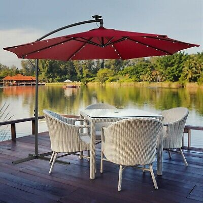 Parasol Zweefparasol LED Luxe Rood Ø3m