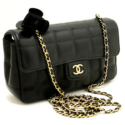 7b9d56655dbe CHANEL Authentic Camellia Chocolate Bar Chain Shoulder Bag Black Quilted k47