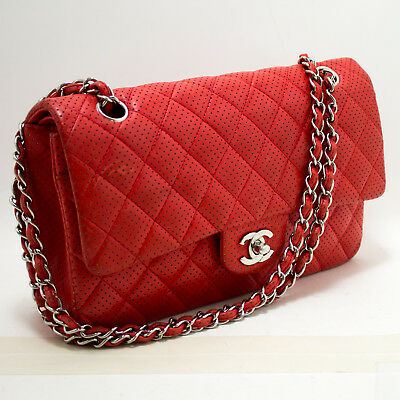 17698d239ae2 n32 CHANEL Authentic Red Punching Leather Double Flap Chain Shoulder Bag  Quilted