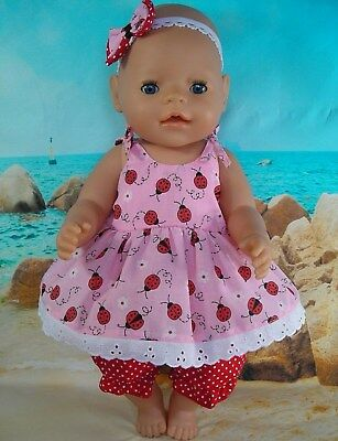 Dolls clothes for 17'' Baby Born doll~LADYBUG STRAP DRESS~BLOOMERS~HAIRBOW