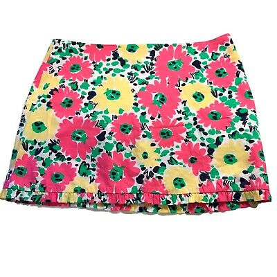 91533195e Lilly Pulitzer Skirt Size 4 Callie Skirt Doodlebug Daisy Ruffle Trim Floral  Pink