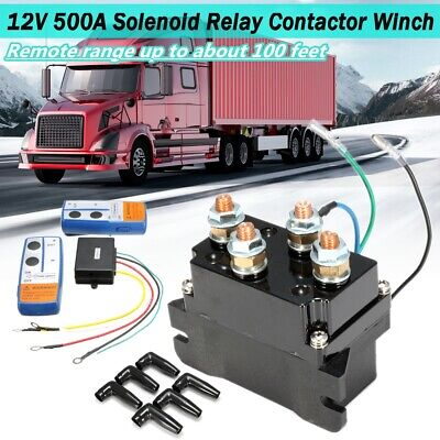 Solenoid Relay Contactor Winch Rocker Wireless Electric Remote Control 12V 500A