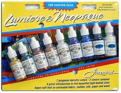 Jacquard Lumiere and Neopaque set of 9 colours of fabric paint
