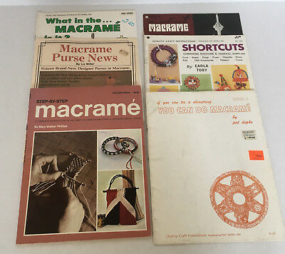 vintage lot of 6 macrame pattern how to lot purse planter step by step patterns
