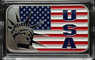 USA Flag with Statue of Liberty design. 1 Troy oz .999 Fine Silver Bar. NEW!