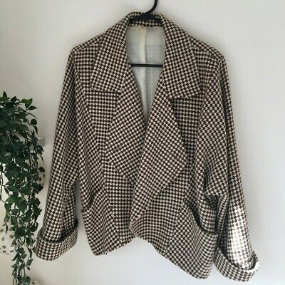 Woman's Vintage Adam Bennett White and Brown Patterned Jacket Size M-L