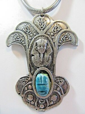 Silver Tone Fancy Egyptian Pharaoh Pendant Blue Scarab Floral Necklace Large