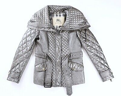 Burberry London Metallic Silver Quilted Belt Jacket Nova Check Lined US 4 UK 6