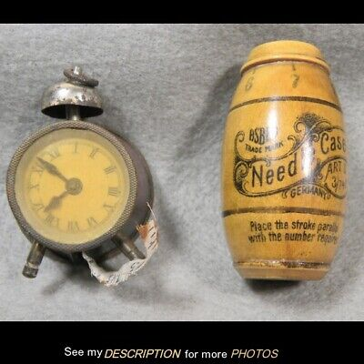 Antique Alarm Clock Tape Measure Celluloid Back anda Needle Case Sewing