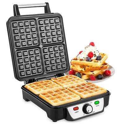 Savisto Large Quad Waffle Maker | 1100W Electric Belgian Iron with...