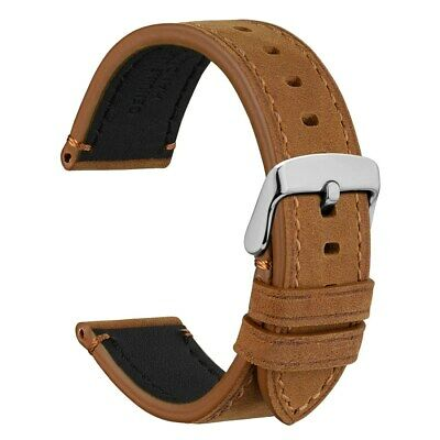 WOCCI Premium Saddle Style Watch Band,18mm 20mm 22mm 24mm Vintage Leather Strap