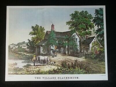 "COLOR Print Lithograph 1972 Vintage Currier /& Ives /""THE VILLAGE BLACKSMITH/"" WOW"