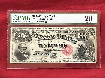 """FR-111 1880 Series $10 United States Legal Tender Note """"Jackass""""  *PMG 20 VF*"""