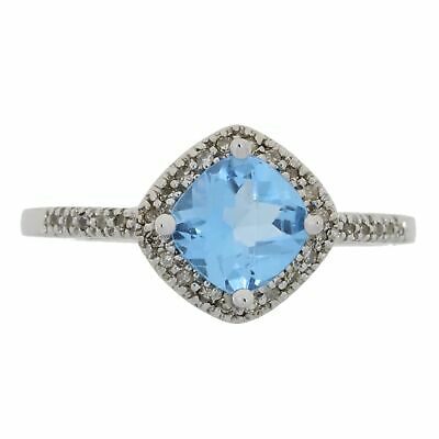 Natural Blue Topaz Ring 0.94ct. with Diamond accents RETAIL $450!!!