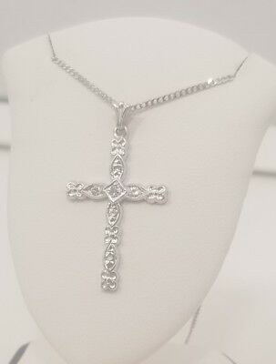 Diamond 14K White Gold Etched Cross Pendant w/ 14k curb Chain Necklace 15''