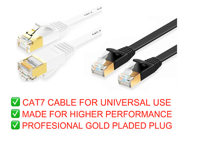 Cat7 Ethernet Cable High Speed Router RJ45 Network Flat LAN Thin PC Patch Cable