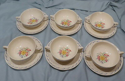 Set of Six Susie Cooper Printemps Soup Coupes and Saucers