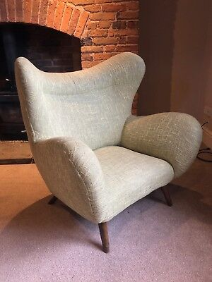 Vintage retro mid century Armchair Pair Available in soft pale green linen type