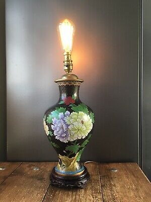 Beautiful Vintage Chinese Cloisonne Floral Lamp Base Wooden Base Interior Design