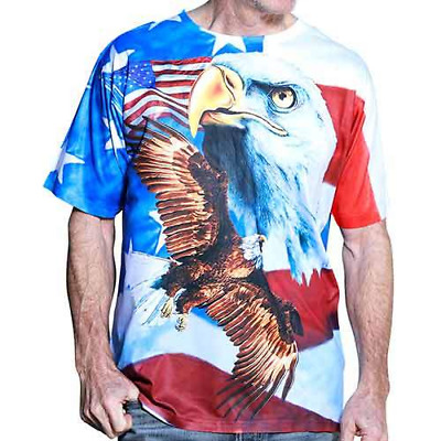 Mens Stars & Stripes Bald Eagle American Flag Shirt, Show your love for the USA!
