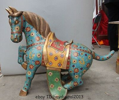 """27""""Huge China Royal 100% Pure Bronze Gilt cloisonne Dynasty palace Lucky horse"""