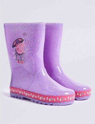 Gorgeous Girls M&S Peppa Pig WELLIES Wellington Boots SIZE 7 (Younger)Brand New