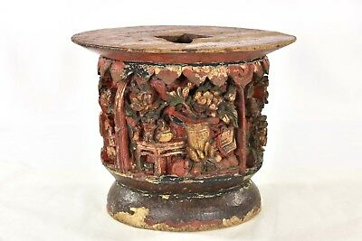 Antique Chinese Wooden Red & Gilded Carving / Altar Stand, Qing Dynasty, 19th c