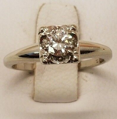G SI1 .33ct Vintage Round Diamond G/SI1 Solitaire Engagement Ring 14K White