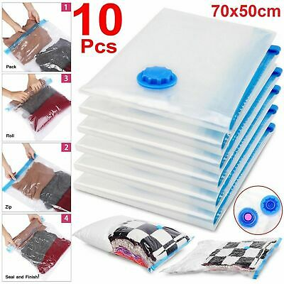 10x Strong Vacuum VAC Space Storage Bags Saving Compressed Bag Vaccum Saver Pack