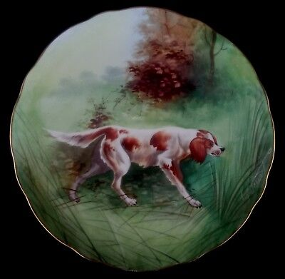 R STUART Art Hand Painted Plate Irish Red & White Setter dog - Onondage Pottery