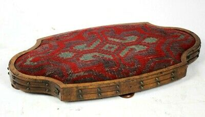 Antique Walnut and Needlepoint Studded Foot Stool - FREE Shipping [PL5005]