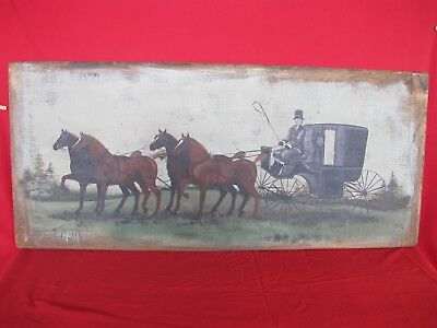 Antique Breadboard LARGE Folk Art Horse & Carraige Country Primitive Painting