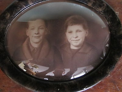 "Antique Photograph Photo Fraternal Twin Boys Oval Frame Convex Glass 16"" by 13"""