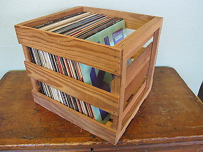 Wood Record Crate Vinyl Record LP Storage Box Case Crate
