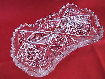 """Antique Lead Crystal Sawtooth Hobstar Pattern 6 5/8"""" Tray / Butter /Candy Dish"""