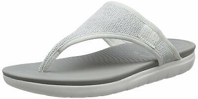 e56ae8f2a FitFlop Women s Uberknit Toe Thong Sandals Urban White Silver -US SIZE-10