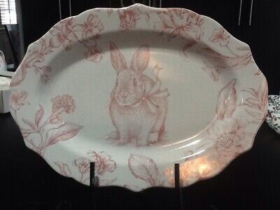 222fifth Oakley Easter Bunny Pink Flower New Large Oval Serving Platter