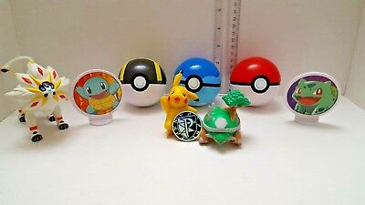 9pcs Pokemon Action Figures + Pokeball Pop-up Lots Kid Toys Gifts