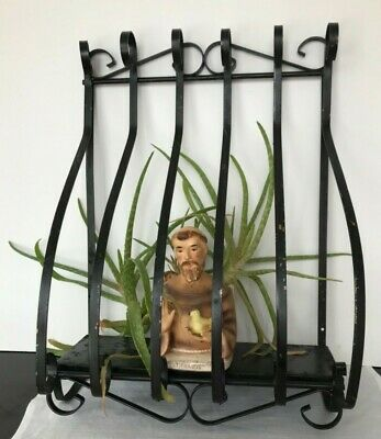Vintage Black Wrought Iron Bow Balcony Window Guard Planter