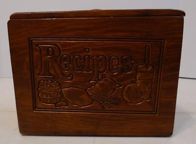 Vintage Wood Recipe Divided File Box With Lid And Recipes Carved On The Front