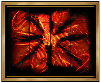 Chris DeRubeis Large 4 Panel Acrylic Painting On Metal Abstract Burst Modern Art