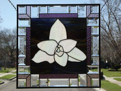 """•Crocus•Beveled Stained Glass Window Panel • 19 ½"""" x 19 ½"""""""