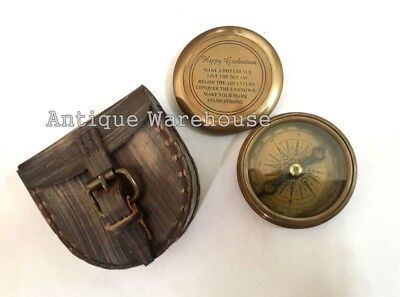 Handmade Antique Brass Pocket Compass With Leather Case Nautical Love Gift