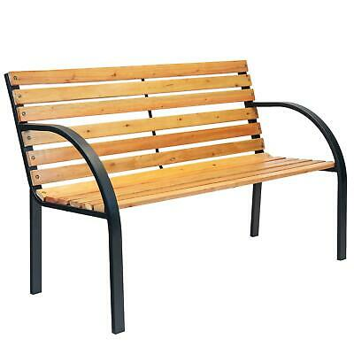 Wooden Garden Bench 2 Seater Steel Legs Modern Contemporary Style Furniture
