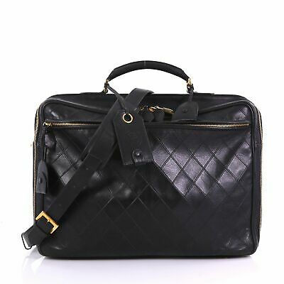 1b93d736a3cadd CHANEL BLACK DIAMOND Quilted Silver Hardware Clutch Crossbody ...