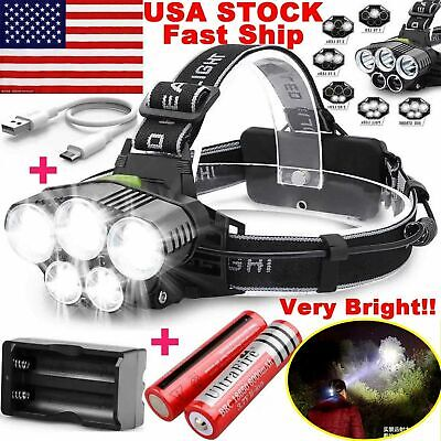 750000LM 5X T6 LED Headlamp Rechargeable Head Light Flashlight Torch Lamp USA