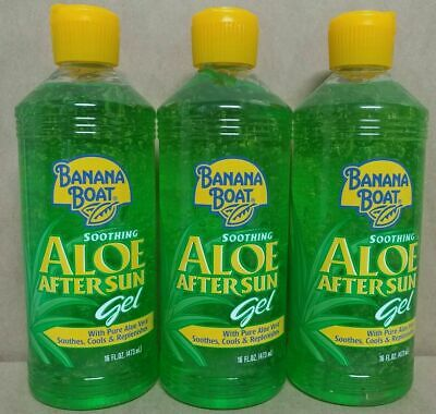 Banana Boat Soothing Aloe After Sun Gel with pure aloe Vera (3 COUNT) 16 oz ea