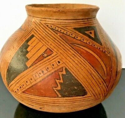 Vintage Mata Oritz Mexican Round Bottom Pottery Polychrome Geometric