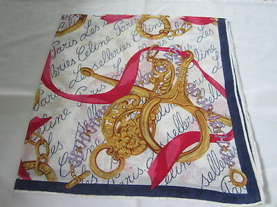 """Used Vintage White Key-Gold Chain Cotton 18"""" Handkerchief Hanky For Ladies"""