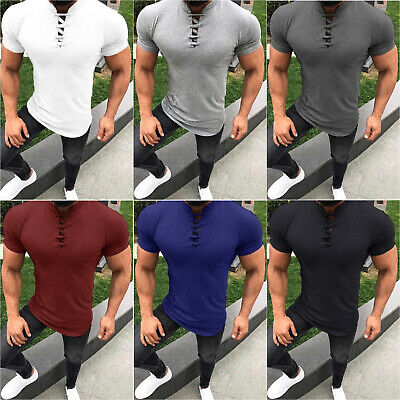 Mens Slim Fit Blouse Short Sleeve Muscle Tee T-shirt V Neck Lace Up Casual Tops